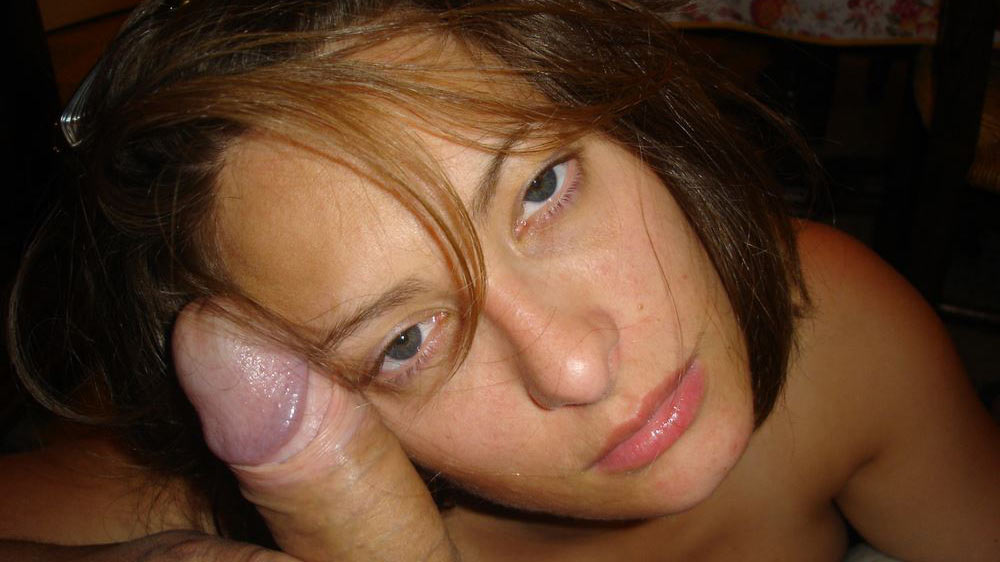 Big-tit amateur wife looks pretty next to a big cock