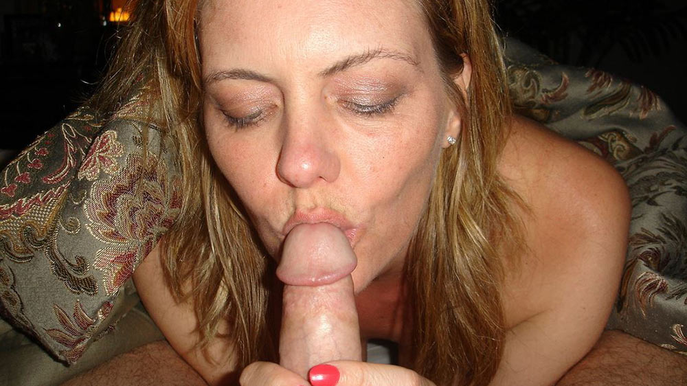 Mature amateur wife gives a gentle blowjob