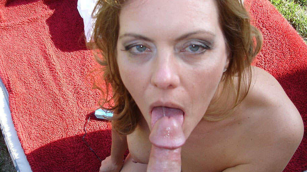 Mature housewife gets a mouthful outdoors