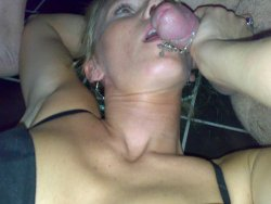 Drunk MILF wife giving blowjobs after the party