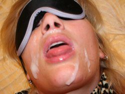 Blindfolded mature wife gets a big facial cumshot