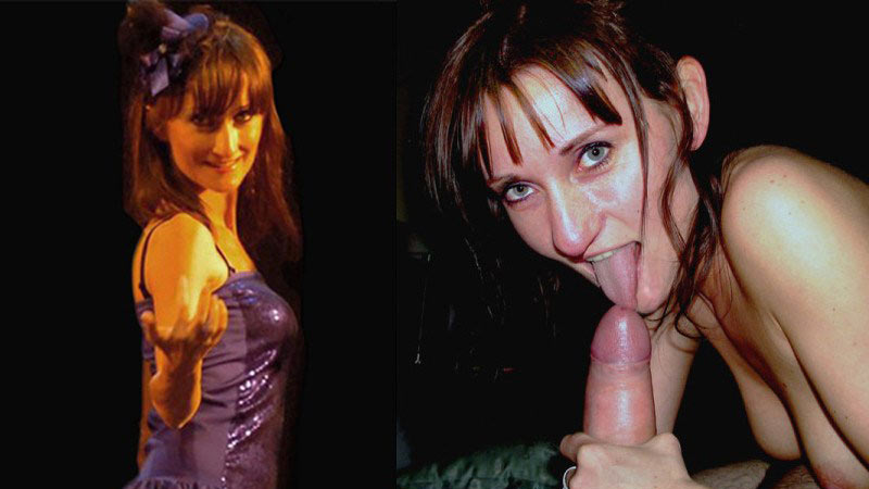 Sexy MILF wife before-after giving a blowjob