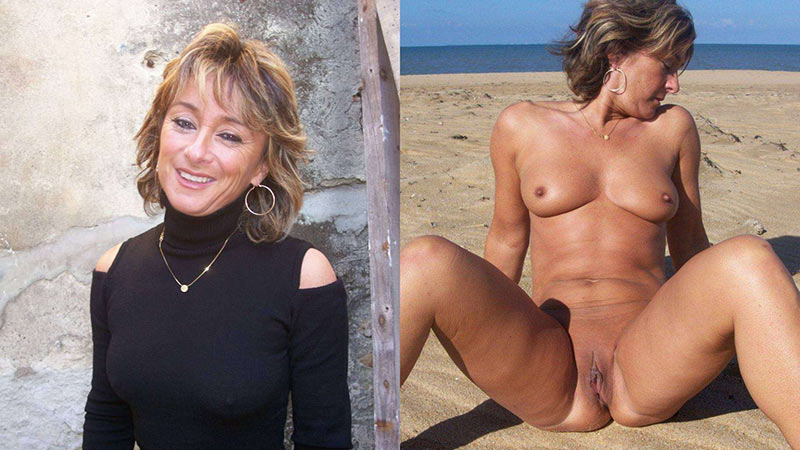 Dressed-undressed photos of lovely mature nudist