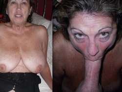 Before-after video of busty mature wife giving blowjobs