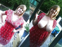 Busty mature wife flashing her big tits to strangers in public