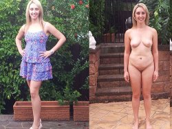 Before-after video of young housewife getting naked in public