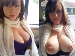 Sex video of busty wife flashing her boobs in the car