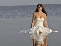 Pretty bride is so sexy in her wedding dress