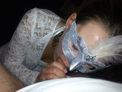 Masked older bride giving a blowjob on wedding night