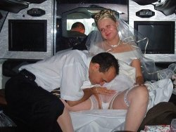 Chubby amateur bride fucked in the limo