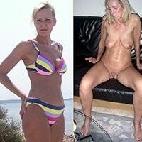 Amateur MILF bikini then naked