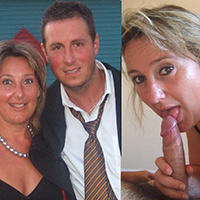 MILF poses with her brother after work, then blows his friend