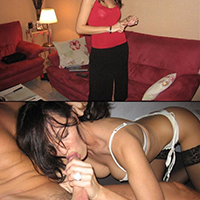 Before and After of Hot brunette wife who loves cock