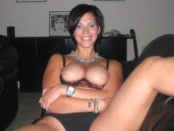 Happy cute MILF with big natural boobs