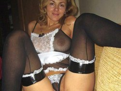 MILF wife in a French-maid uniform