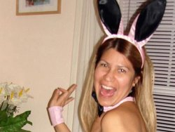 Older housewife looks great in her bunny costume