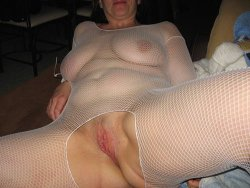 Chubby married wife looks hot in fishnet lingerie