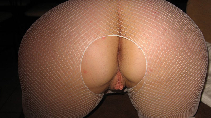 Fat ass in fishnet stockings