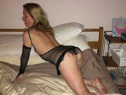 Skinny older wife in fishnet lingerie