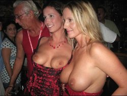 MILF wives went to the club and flashed their boobs in front of strangers