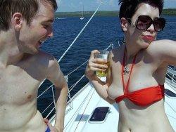 Drunk wife masturbates on an yacht