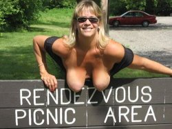 Mature wife flashes her tits at the picnic