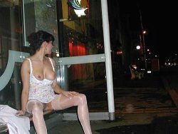 Exhibitionist wife gets naked on the bus stop