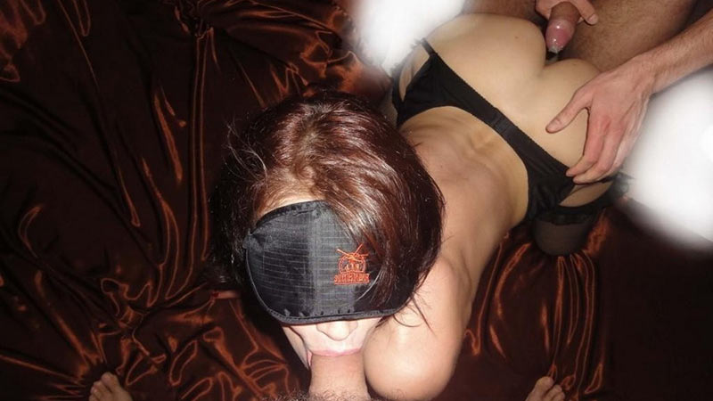 Blindfolded wife in a homemade threesome