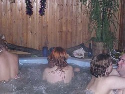 Swinger wives fucking in the hot tub