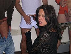 Drunk amateur wife blowbang and gangbang