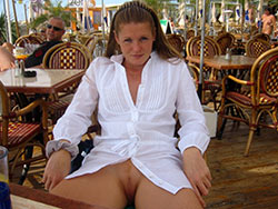 MILF slut nude in public