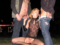 Cheating wife outdoor gangbang