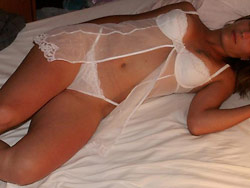 Real bride in sexy white lingerie