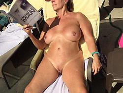 Mature wife nude sun-bathing