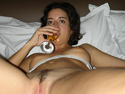 Drunk wife gives a sloppy blowjob