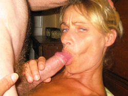Deepthroat blowjob from real MILF wife