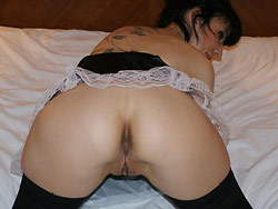 Hot MILF wife in a French-maid uniform