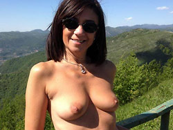 Real amateur MILF naked outdoor