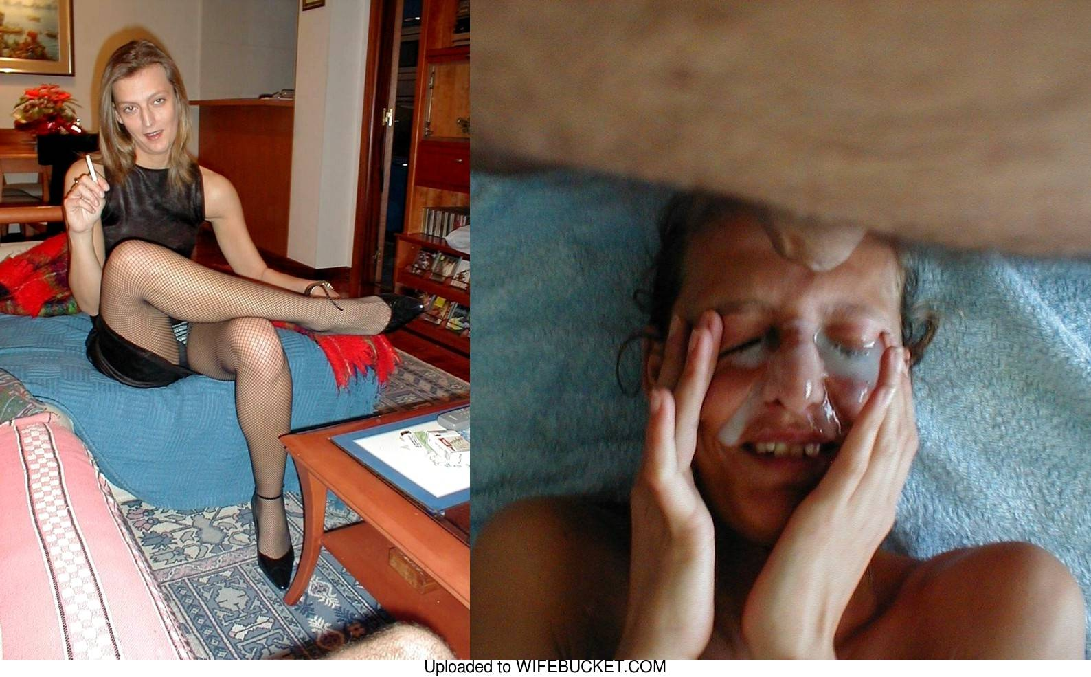 before-after facial cumshot photo from a real mature wife
