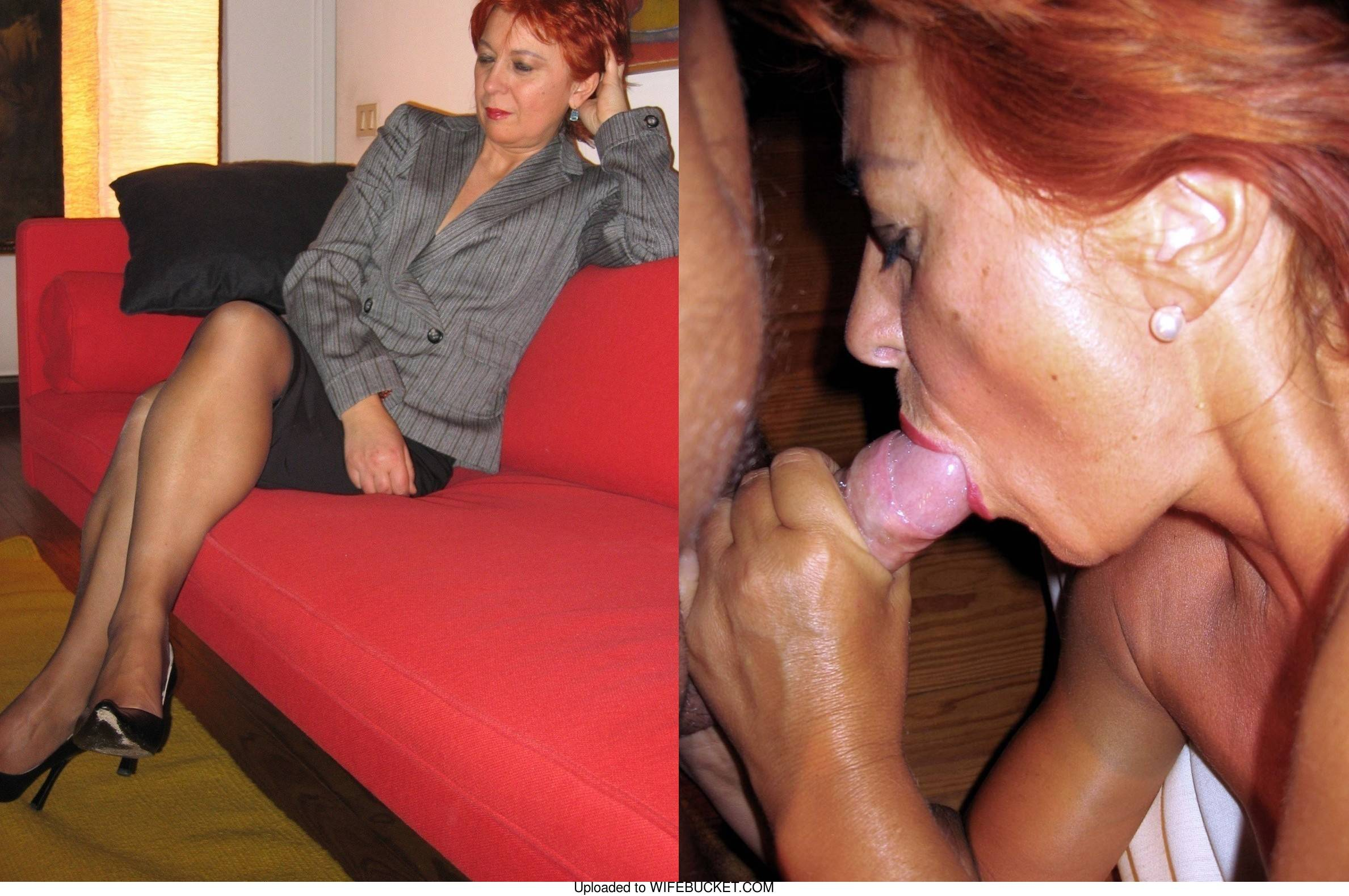mature whore before and after the blowjob