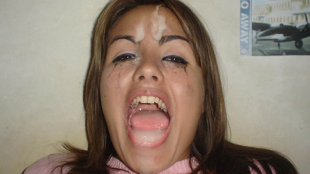 Her make-up got ruined by this big facial cumshot