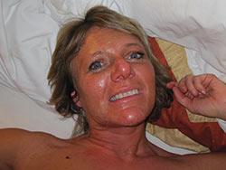 Homemade pics of a mature wife getting big facial cumshots