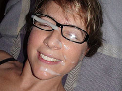 WifeBucket Pics | Big facial cumshot on her glasses