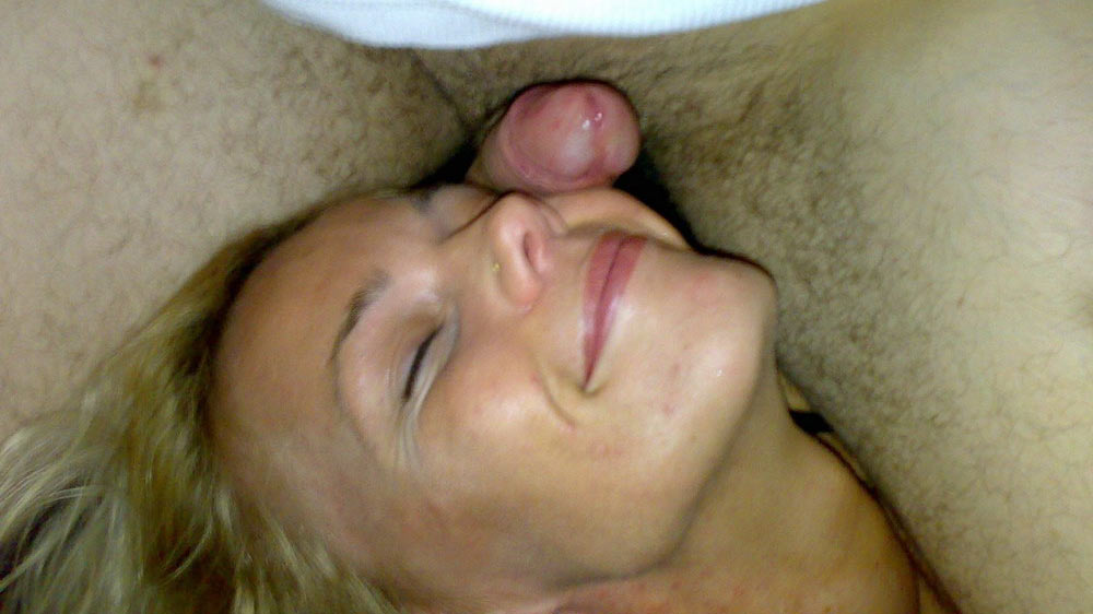 Wasted amateur MILF gets cock-slapped on the face