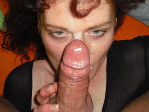 This older wife looks tired and messed up a bit - but that's what deepthroat blowjobs and facial cumshots do to you.