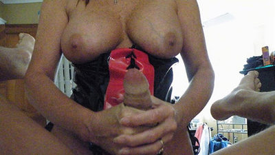 Big-tit mature housewife gives handjobs and blowjobs
