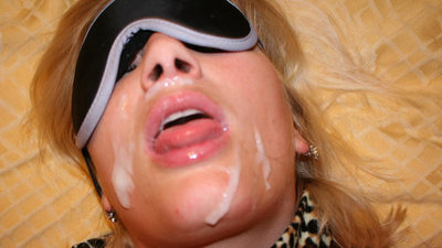 Blindfolded mature wife gets a big facial cumshot