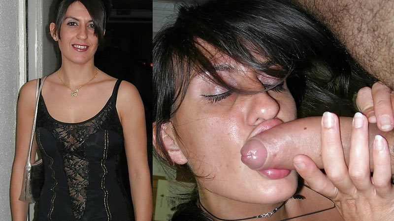Before-after compilation of hot wife giving blowjobs