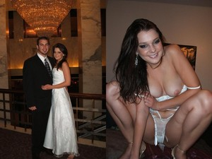 Brides are so sexy in their white dress, perfect makeup, and badly-hidden desire to get naked and fuck the groom right then and there. This gallery is all about before-and-after compilations of slutty brides - on the left, you can see them looking like angels and on the right - OMG, these dudes married total sluts 😉 Scroll down for all previews and then sign up to WifeBucket for the rest!