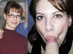 WifeBucket Pics | Before-and-after blowjob pics of a cute amateur wife